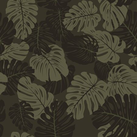 Illustration pour Seamless camouflage tropical pattern with tropical plants. Exotic camo background with monstera leaves. Fashion jungle print for design. Vector - image libre de droit