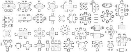 Illustration pour Set of kitchen and office tables for the interior layout of a restaurant, kitchen, apartment or office space. Top view of furniture icons for floor plans. Vector - image libre de droit