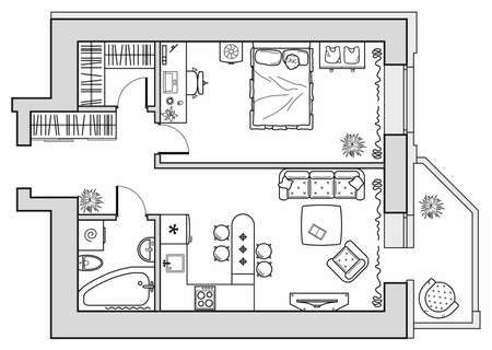 Photo pour Planning of an apartment with furniture arrangement. Architectural drawing of a house (top view). Interior design floor plan from above. Vector layout - image libre de droit