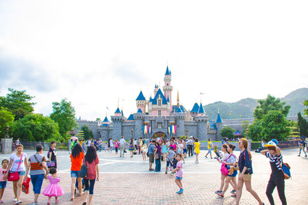 Photo for HONG KONG DISNEYLAND: Tourists are spending their time at Main Street, U.S.A. in Hong Kong Disneyland - Royalty Free Image
