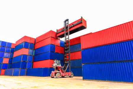 Loading Containers box, Container Cargo freight ship for Logistic Import Export background