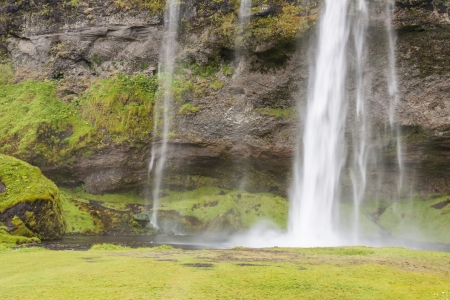 Seljalandsfoss waterfall - huge and most popular fall on Iceland.