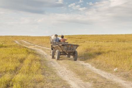 Photo pour Rural view, old wooden cart - Ukraine harvest time. Sunny summer day. - image libre de droit