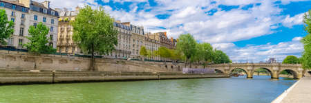 Photo for Paris, view of ile saint-louis and quai d'Orleans, beautiful buildings and quays in summer - Royalty Free Image