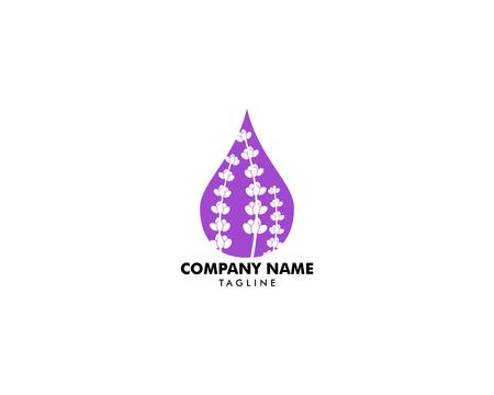 Illustration pour Lavender essential oil logo, Aromatherapy logo, Icon with a drop of lavender essential oil, Aromatherapy, perfumery, cosmetics, spa logo - image libre de droit