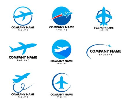 Illustration for Set of Airplane Logo Template Design Vector - Royalty Free Image