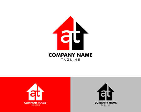 Illustration for Initial Letter AT House Real Estate Design - Royalty Free Image