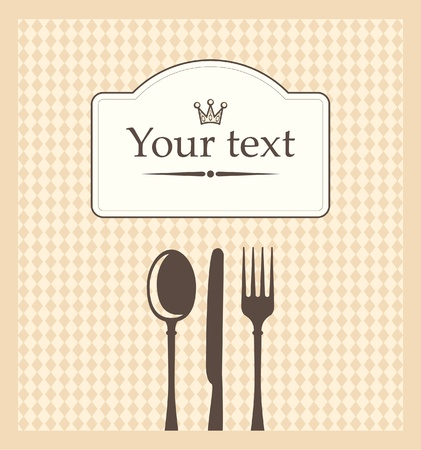menu on beige background in a cage with cutlery