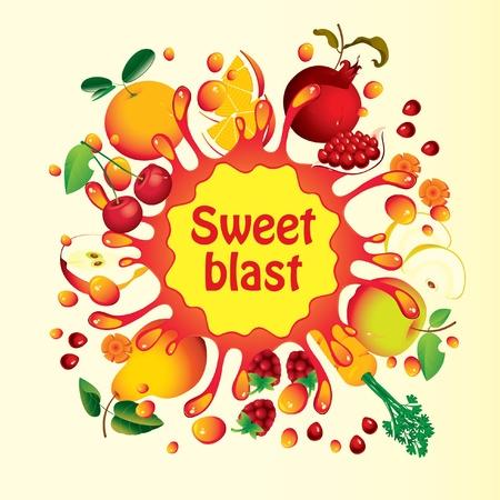 Foto für Banner with fruit, and splashes juice  - Lizenzfreies Bild