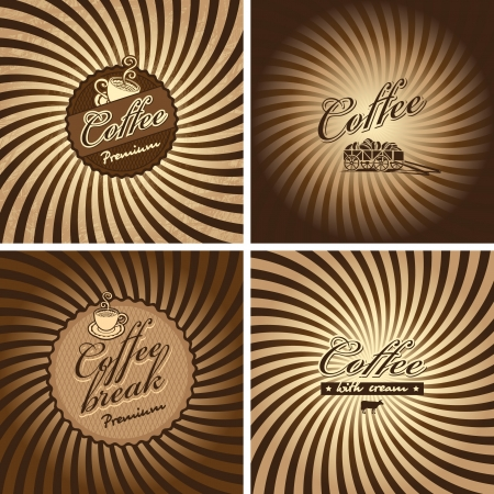 four banners for cafe in retro style