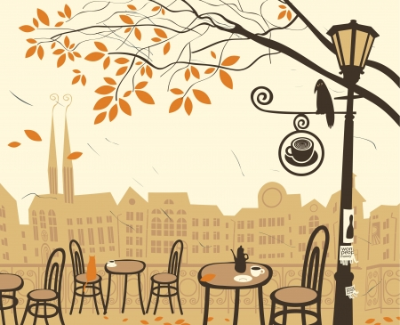 autumn landscape with a street cafe