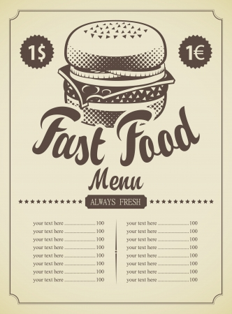 menu for fast food cheeseburger with