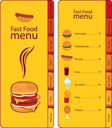 for fast food menu with tabs for different dishes
