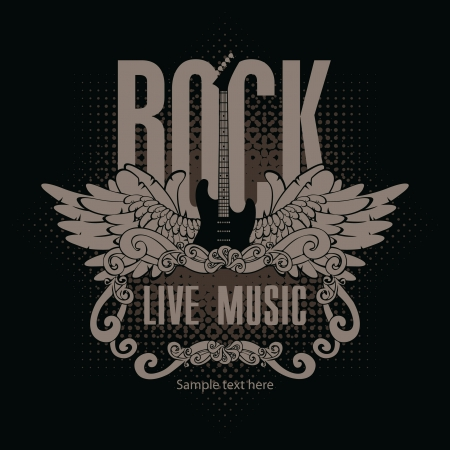 square banner with a guitar and wings and the words of rock music on a black background