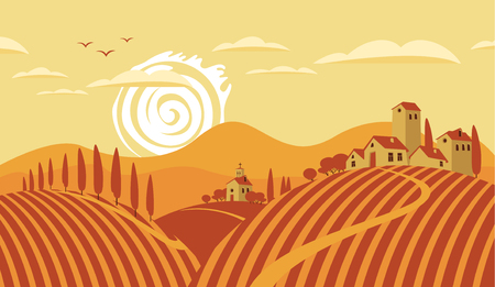 Illustration pour Italian countryside landscape with vineyards and the mountains - image libre de droit