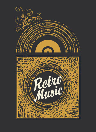 banner with the inscription retro music an old vinyl record