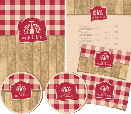 Illustration for set of design elements for a wine shop or restaurant with menus, business cards and coasters - Royalty Free Image