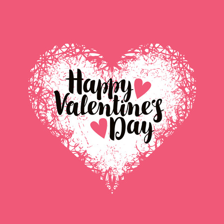 Illustration for vector greeting card with inscription happy valentines day with hearts - Royalty Free Image