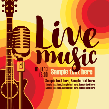 Illustration pour vector music poster for a concert live music with the image of a guitar and microphone on the colored background - image libre de droit