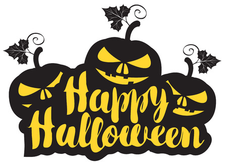 Happy Halloween Lettering With Three Pumpkins Vector Calligraphic Inscription For Banner Poster Greeting Card Party Invitation Royalty Free Vector Graphics