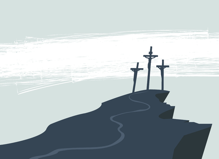 Illustration pour Vector banner on Easter or good Friday with the image of Mount Calvary and three crosses with crucified people. - image libre de droit