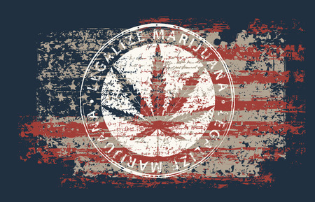 Ilustración de Vector banner for legalize marijuana with hemp leaf on abstract background of american flag in grunge style. Natural product made from organic hemp. Smoking weed. Medical cannabis logo - Imagen libre de derechos
