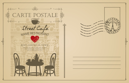 Retro postcard with French street cafe and old buildings. Romantic vector card in vintage style with place for text and a rubber stamp in form of Eiffel tower