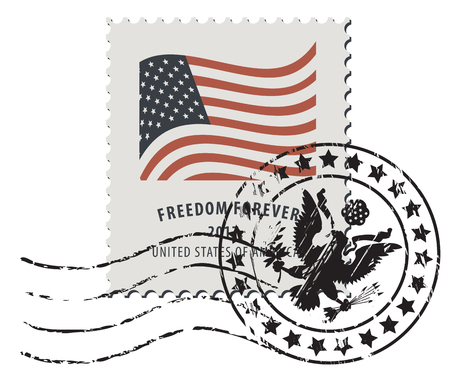 Illustration pour Vector illustration of a USA postage stamp with a postmark in retro style. American national flag and inscription Freedom forever. - image libre de droit