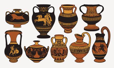 Ilustración de Set of antique Greek amphorae, vases with patterns, decorations and life scenes. - Imagen libre de derechos