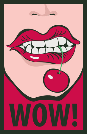 Illustration pour Vector  of a mouth biting a cherry, shout wow. - image libre de droit