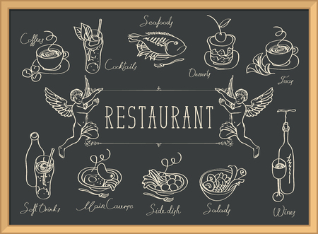 Illustration pour Restaurant menu with two angels, sketches of different dishes and handwritten inscriptions on the black - image libre de droit