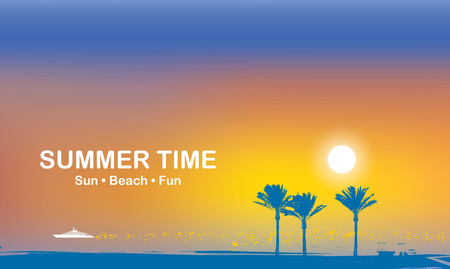 Illustration for Vector travel banner with words Summer time. Tropical seascape with silhouettes of palm trees and white ship in the sea at sunset. Summer poster, flyer, invitation, card. Sun, beach, fun - Royalty Free Image