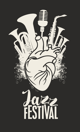 Illustration pour Music poster with human heart, wind instruments and microphone. - image libre de droit