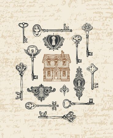 Illustration for Vintage keys, keyholes and old house in retro style. - Royalty Free Image