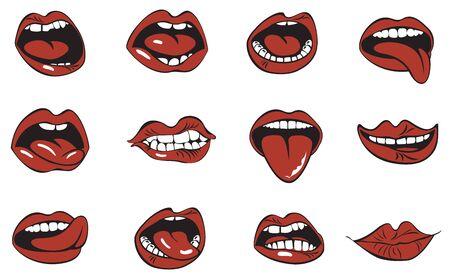 Illustration pour Red lips collection. - image libre de droit