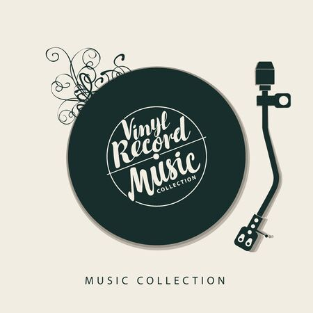 Illustration pour Vector music poster with vinyl record, record player and calligraphic lettering in retro style. Can be used as design elements for flyer, card, brochure, invitation - image libre de droit