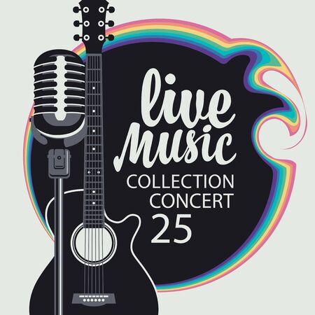 Illustration pour Vector music poster with guitar, microphone and calligraphic inscription Live music. Can be used as design element for banner, flyer, card, brochure, invitation, cover - image libre de droit