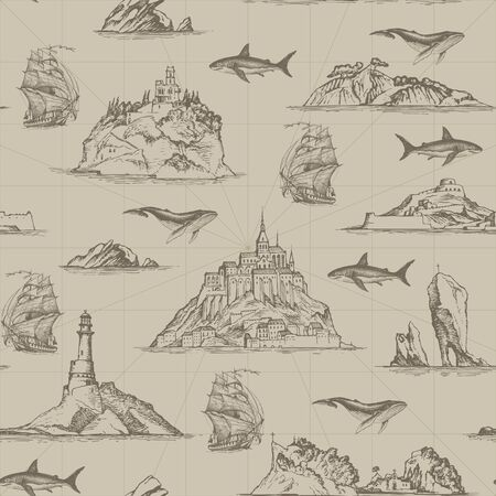 Illustration pour Vector seamless pattern on the theme of travel, adventure and discovery. Repeatable background with hand-drawn islands, lighthouses, sailboats, fishes. Suitable for wallpaper, wrapping paper, fabric - image libre de droit