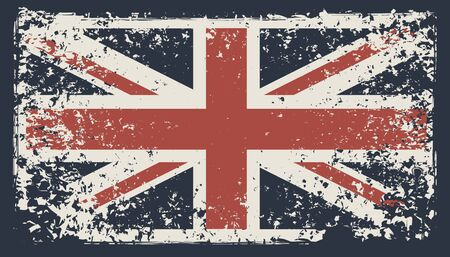 Illustration pour Vector banner with the flag of the UK in the grunge style on a dark background. Symbolism of the Great Britain. Suitable for t-shirt print, label, poster, banner, postcard, flyer, design element - image libre de droit