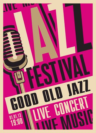 Illustration pour Vector poster for a jazz festival or concert of live music with a microphone in retro style on the crimson background with place for text. Good old jazz. - image libre de droit