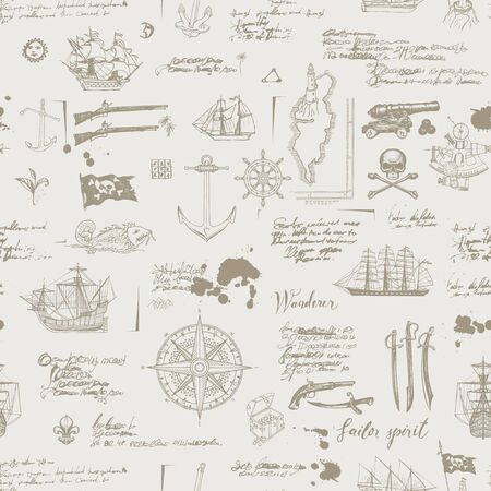 Foto für Vector abstract seamless pattern on the theme of pirate adventures with sketches and illegible notes. Vintage background with skull, crossbones, flag, swords, guns, caravels and other nautical symbols - Lizenzfreies Bild