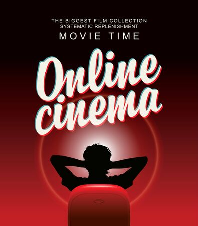 Illustration pour Vector online cinema banner with calligraphic inscription and a man in a relaxed home pose in front of a large screen. Movie theater for one viewer at home. The biggest film collection - image libre de droit