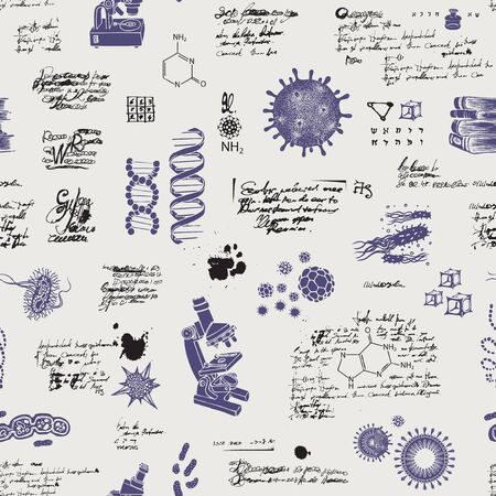 Illustration pour Vector seamless pattern on the theme of chemistry, Microbiology, medicine, genetics, laboratory research. Hand-drawn background with sketches, unreadable entries and illegible notes in retro style - image libre de droit
