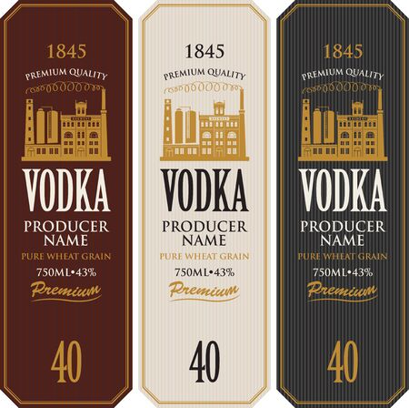 Illustration pour Set of vodka labels with the image of distillery building. Decorative vector labels for vodka in retro style. Premium quality, pure wheat grain, strong alcoholic beverage collection - image libre de droit