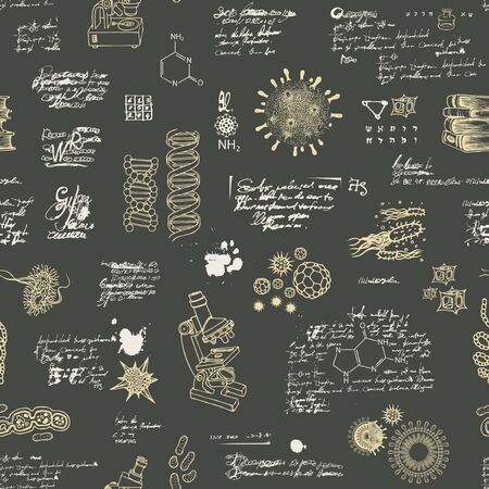 Illustration pour Vector seamless pattern on the theme of chemistry, microbiology, genetics, medicine in retro style. Hand-drawn background with sketches, unreadable notes, illegible entries on the black backdrop - image libre de droit