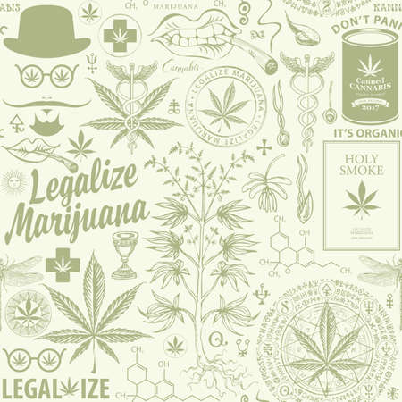 Illustration for Legalize marijuana. Seamless pattern in retro style with hemp leaves, cannabis plant, hipster face, caduceus and other sketches. Vector repeatable hand-drawn illustration on a light green background - Royalty Free Image