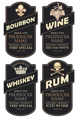 Illustration pour Set of four vector labels for various alcoholic beverages in the figured frames. Black labels for bourbon, wine, whiskey and rum in retro style on a light background - image libre de droit