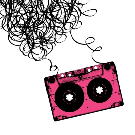 Illustration for Audiocassette tape with tangled. - Royalty Free Image