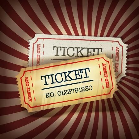 Golden and regular tickets concept illustration.