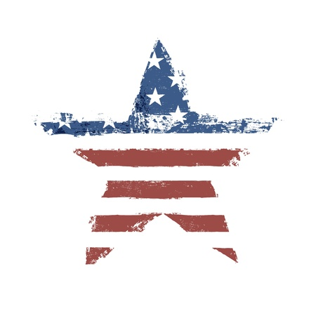 The American flag print as star shaped symbol.